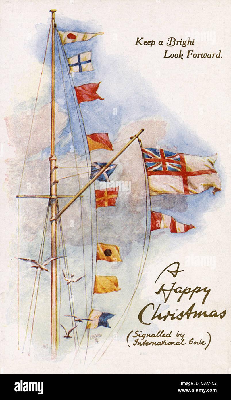 d80a72e09 Banderas de Señales navales - saludo de Navidad - Postal. La traducción de  esta serie