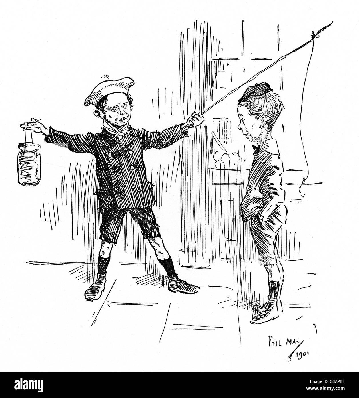 """""""Mi padre 'e una vez capturado un gran fishas -como nuestra calle!"""" """"Bueno, entonces, debe """"ave Imagen De Stock"""