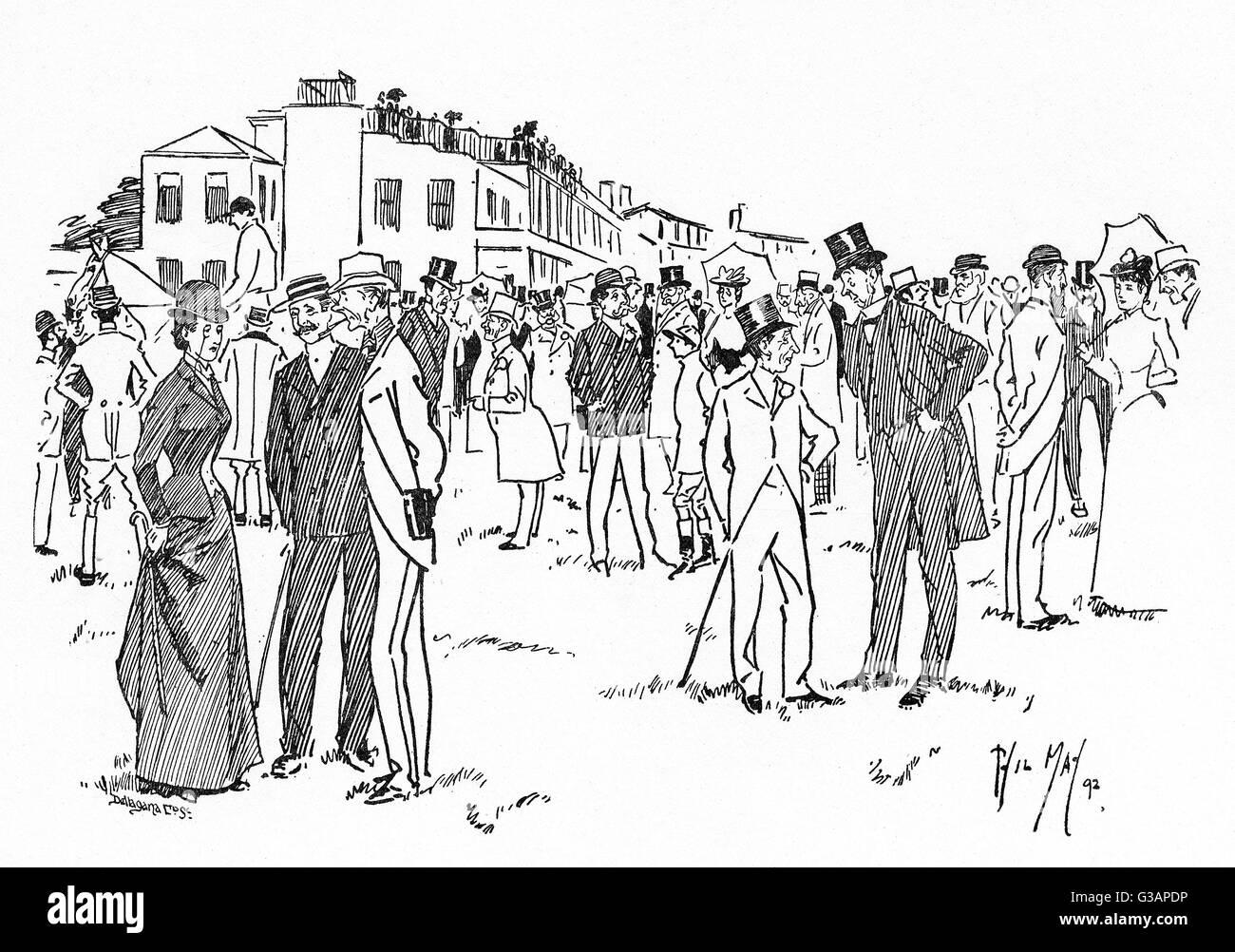 Carreras de Caballos - un hipódromo Paddock escena Fecha: 1892 Imagen De Stock