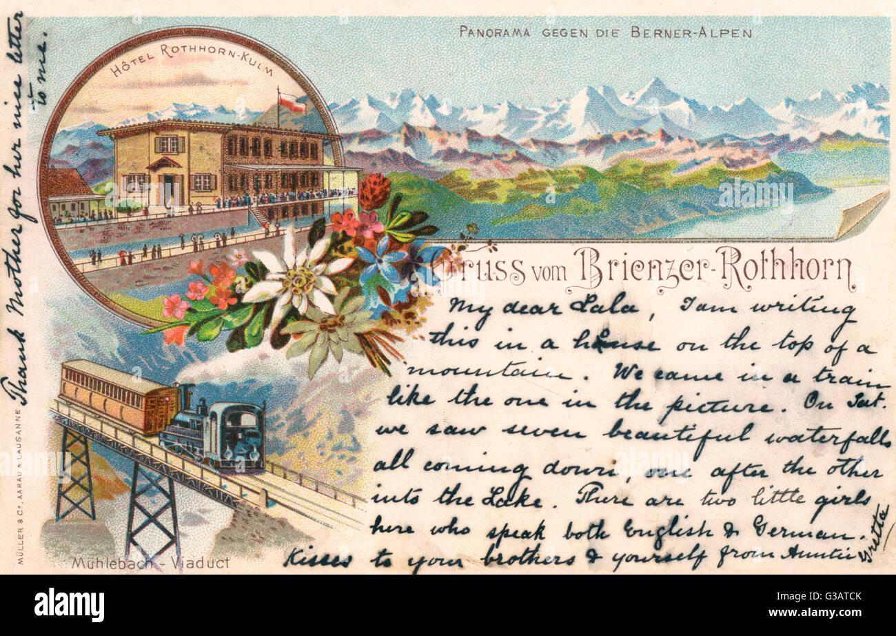 Hotel Rothhorn-Kulm, un panorama de los Alpes Berneses y el Viaducto Muhlebach en Brienz, Suiza. Fecha: a finales Imagen De Stock