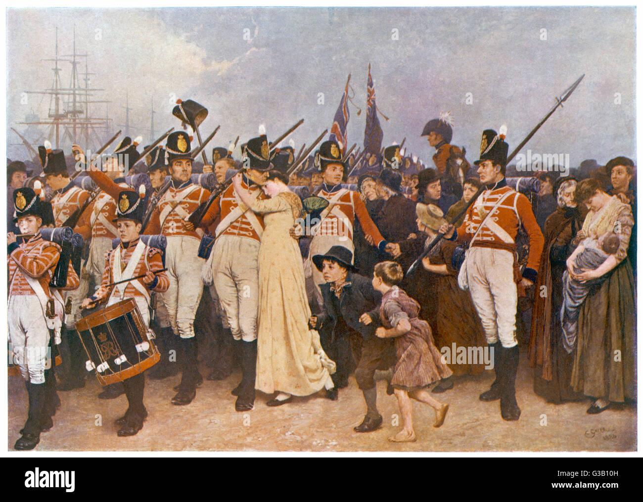 """Los soldados de embarcarse para las Guerras Napoleónicas: 'La chica que dejé detrás de mí"""" Fecha: circa 1810 Foto de stock"""