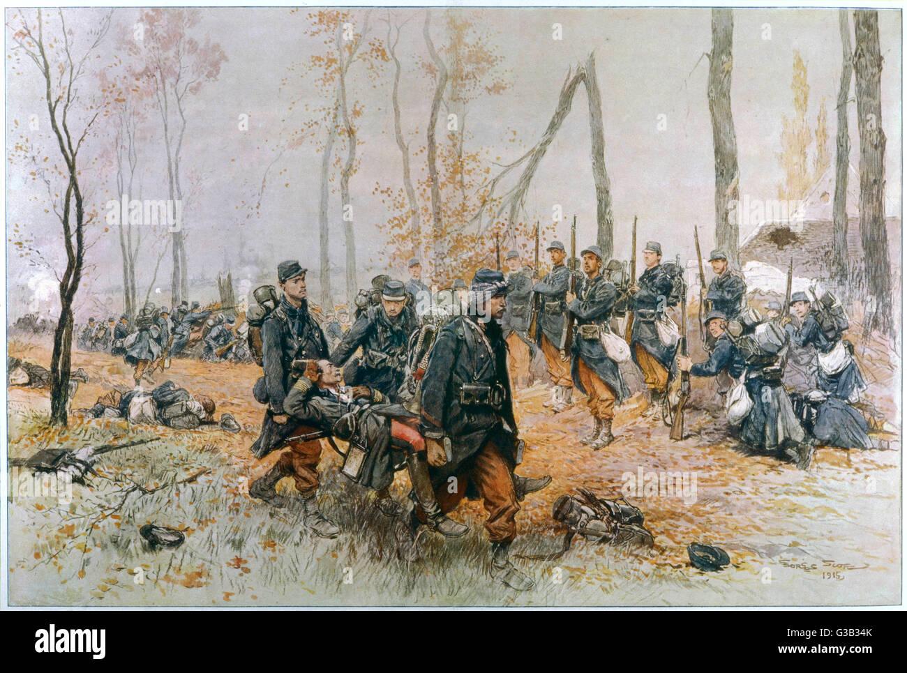 Como él es llevado en una camilla por sus camaradas, muriendo un soldado francés hace su último saludo. Imagen De Stock