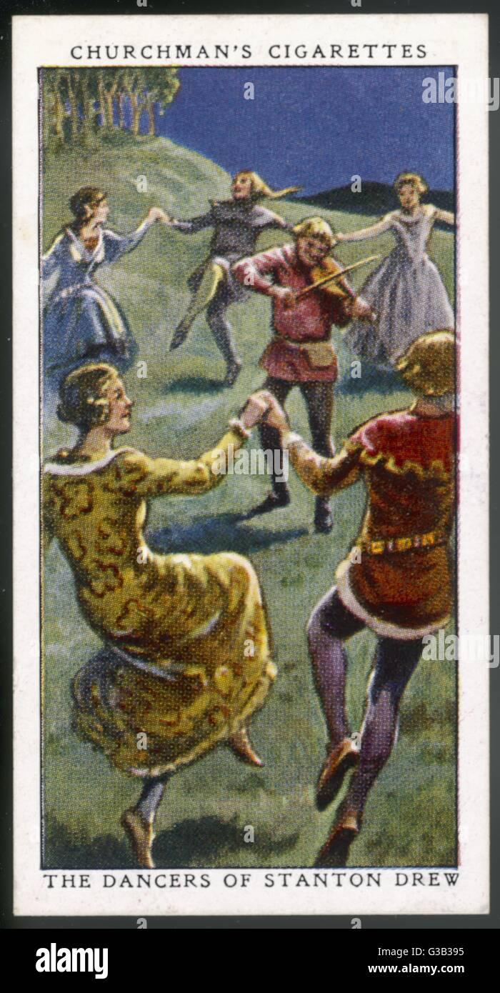 Stanton Drew Stone Circle se celebra en el folclore como los miembros de una boda atraídos por el diablo para Imagen De Stock