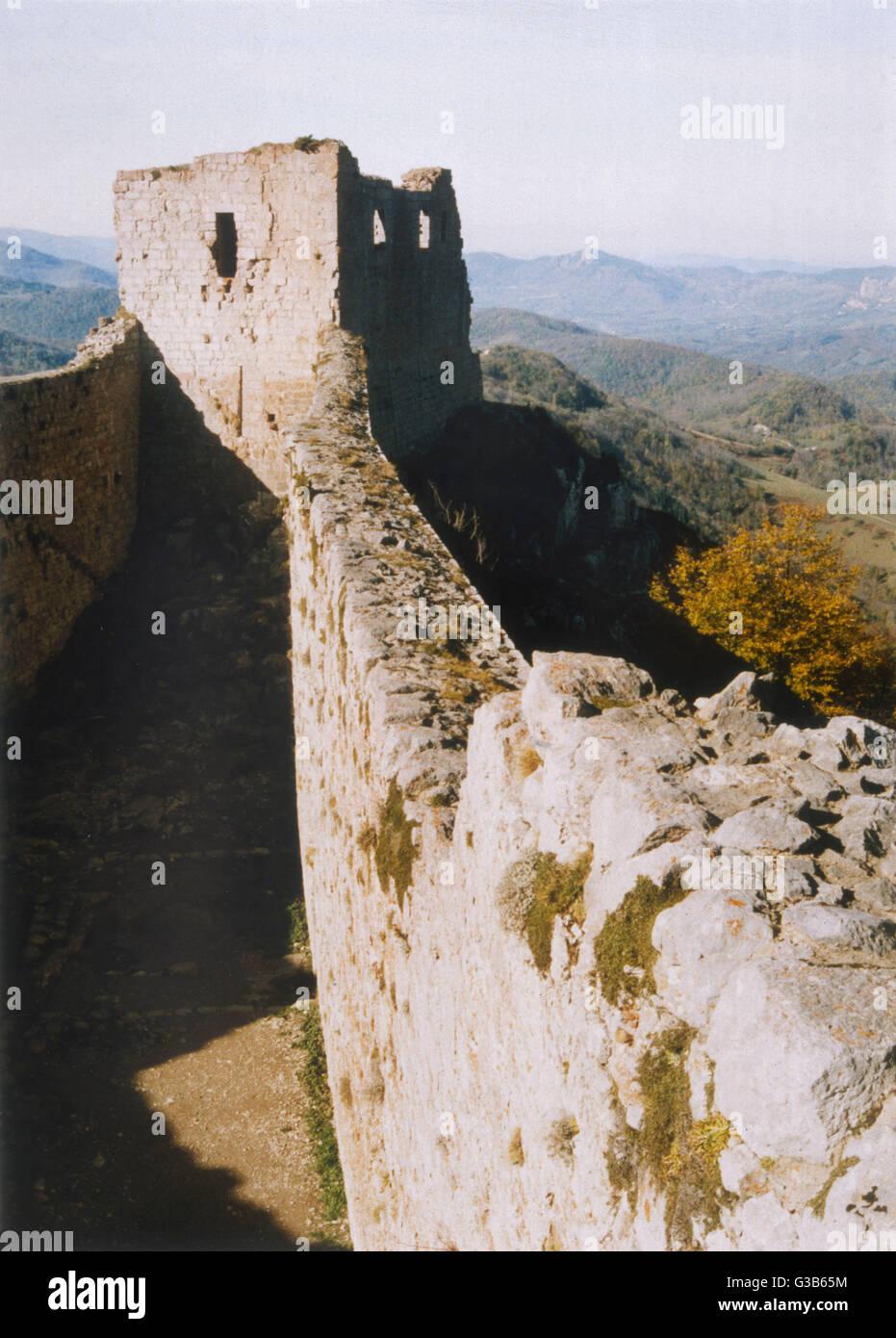 Montsegur, Languedoc Fecha: 1989 Imagen De Stock