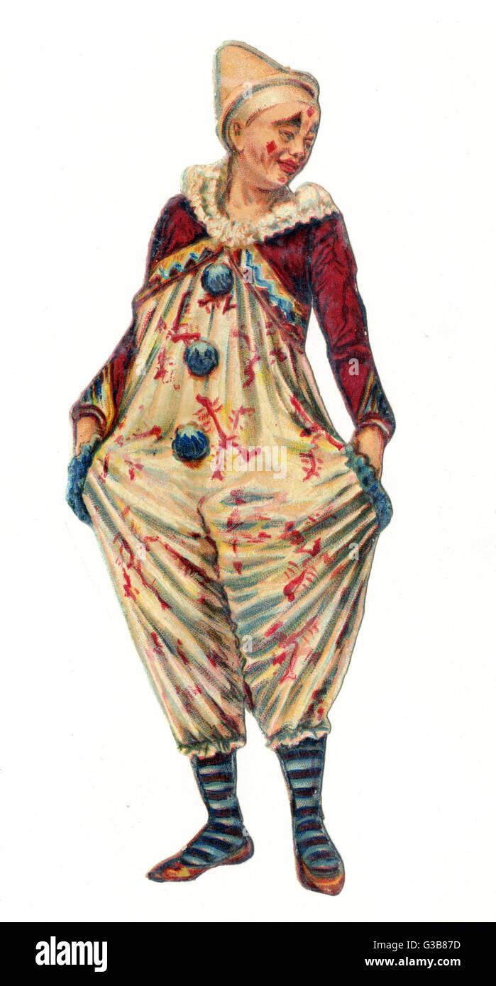 Un payaso vistiendo petos con stripey calcetines. Fecha: a finales del siglo XIX. Imagen De Stock