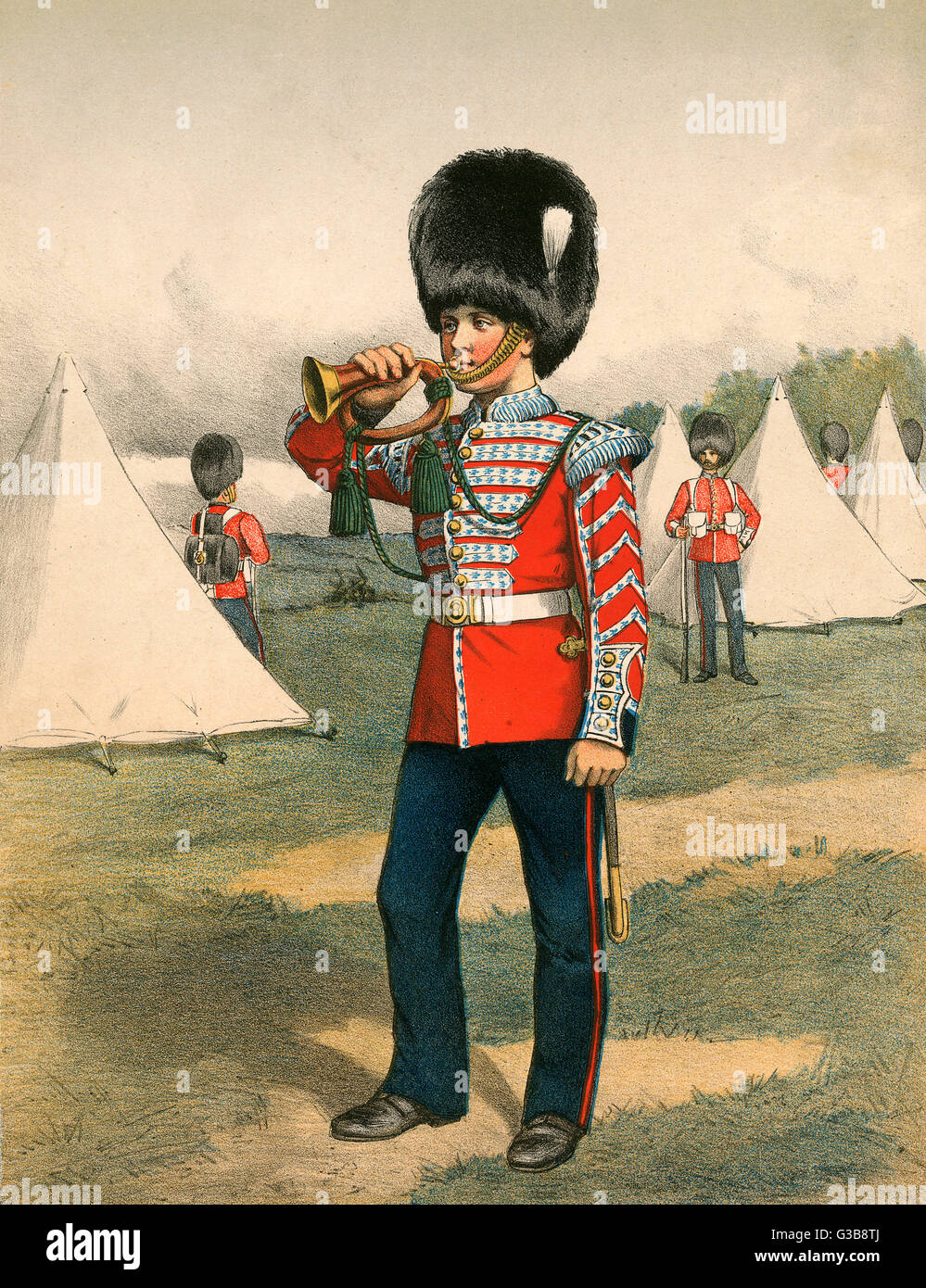 Un ejército bugler indigna a sus compañeros en un campamento militar. Fecha: circa 1870 Imagen De Stock