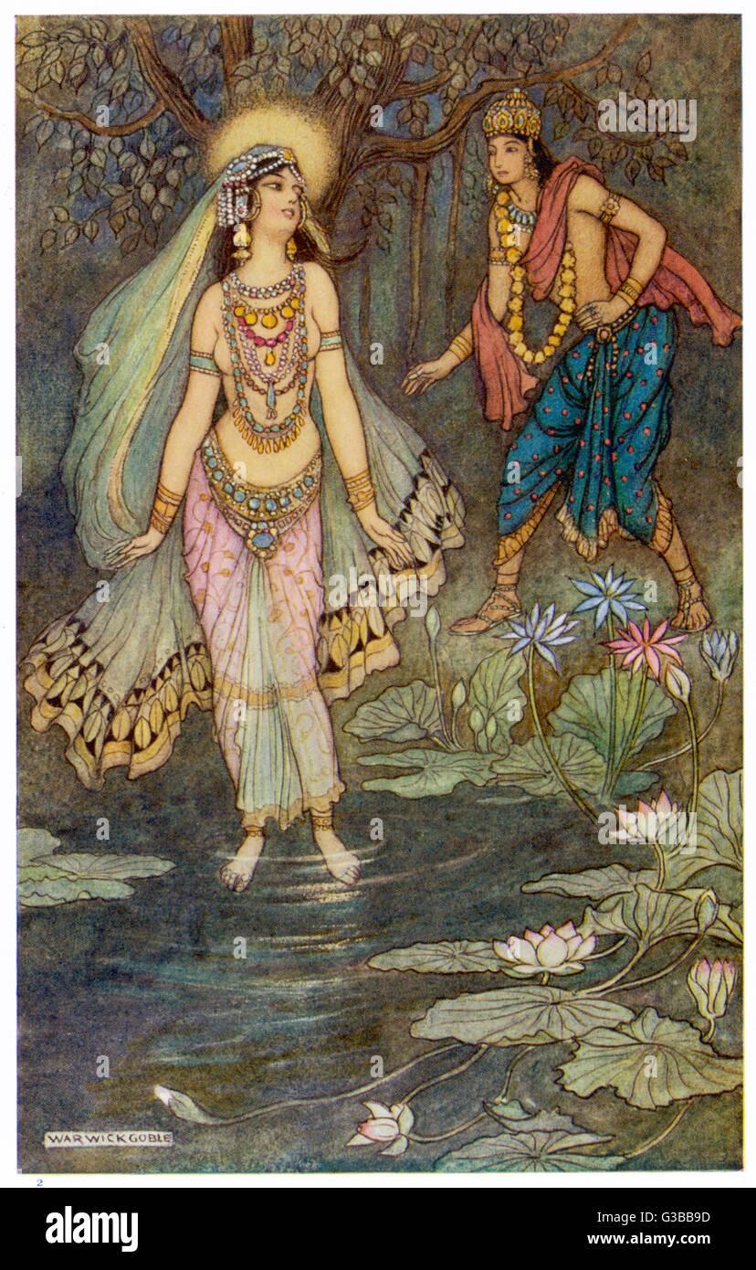 El encuentro entre SHANTANU y Ganga, la diosa que personifica al río Ganges. Imagen De Stock