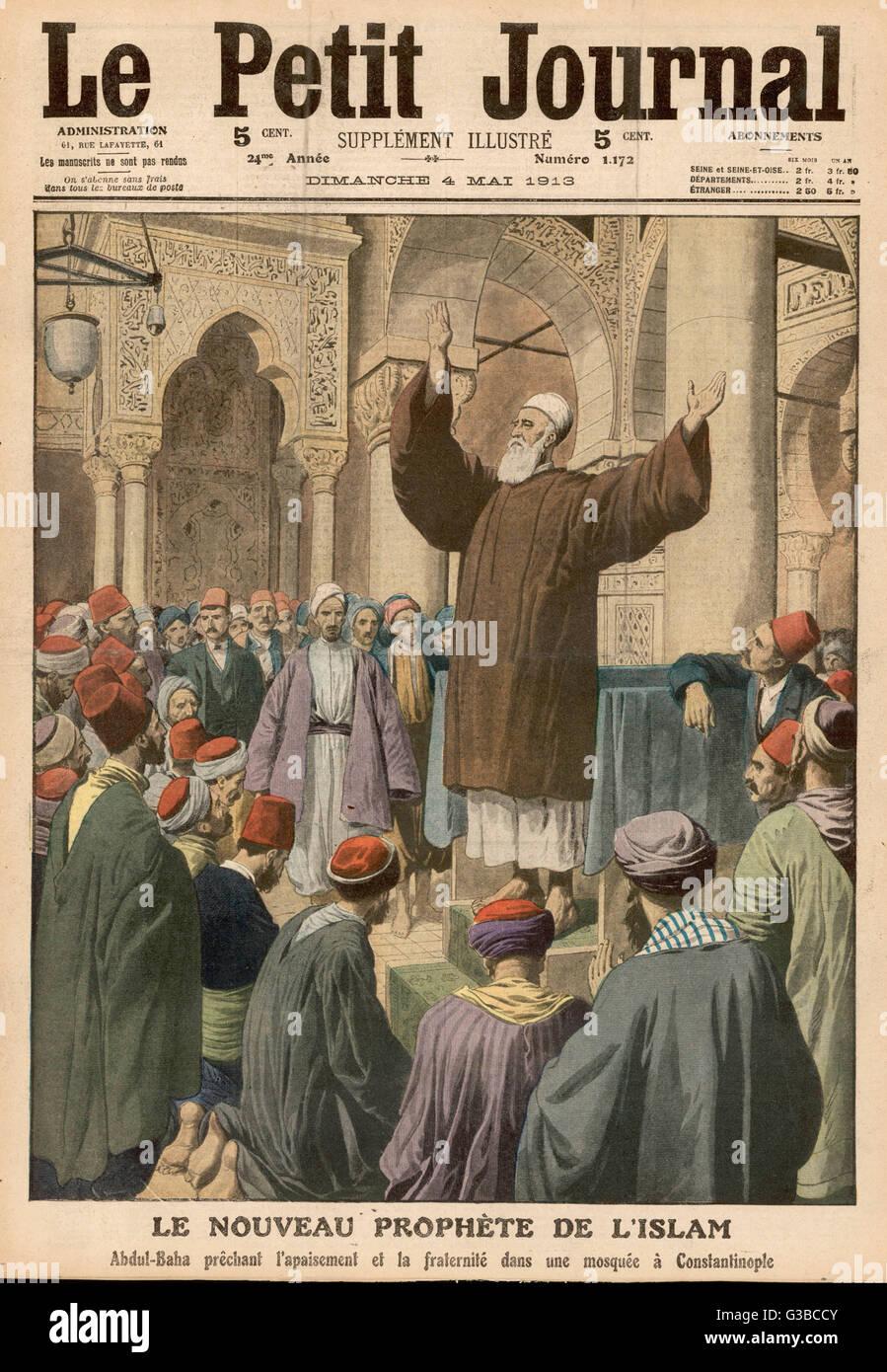 Abdul Baha, jefe del movimiento Bahaist, predica la paz y la fraternidad en una mezquita en Estambul Fecha: 1913 Imagen De Stock