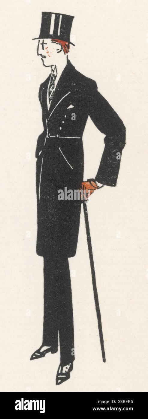 Caballero vestido de noche en &Amp; un acabado similar a un frock coat con una costura en la cintura. Fecha: Imagen De Stock