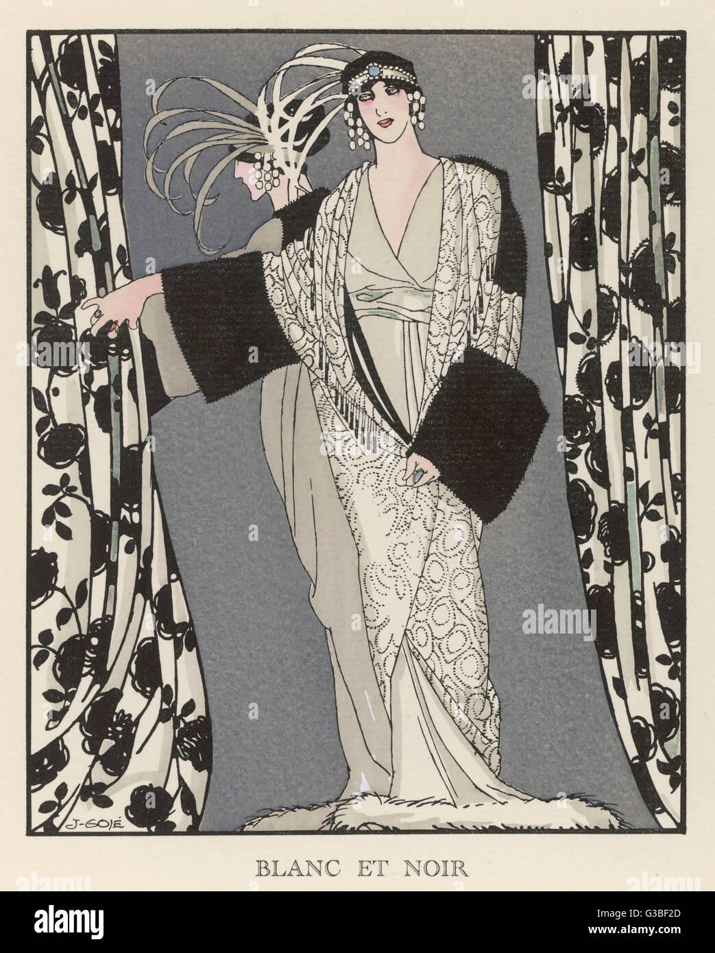 Redfern vestido &Amp; untar en negro &Amp; blanco para el teatro: Envolver- en 'V'-cuello vestido Imagen De Stock