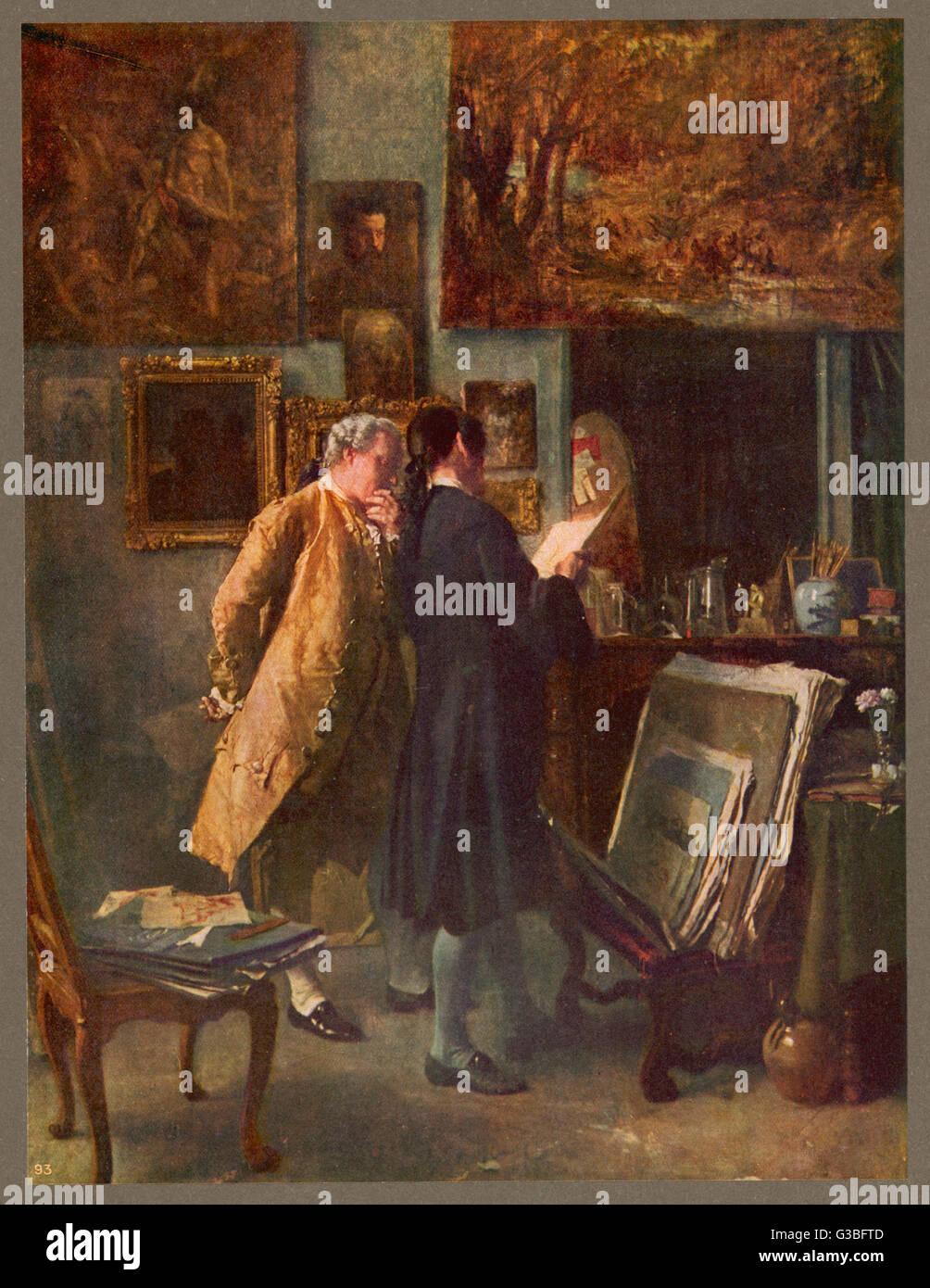 El coleccionista de impresión Fecha: SIGLO XVIII Imagen De Stock