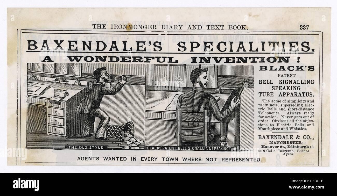 """La Baxndale specialitites: 'Negro la patente de Bell habla de señalización de aparatos de tubo"""". Imagen De Stock"""