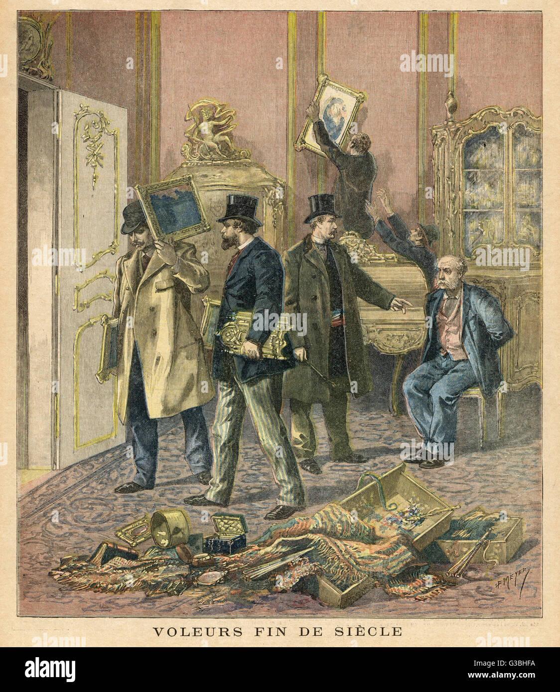 Los ladrones de arte de París se hicieran con los tesoros de una colección privada. Fecha: 1893 Foto de stock