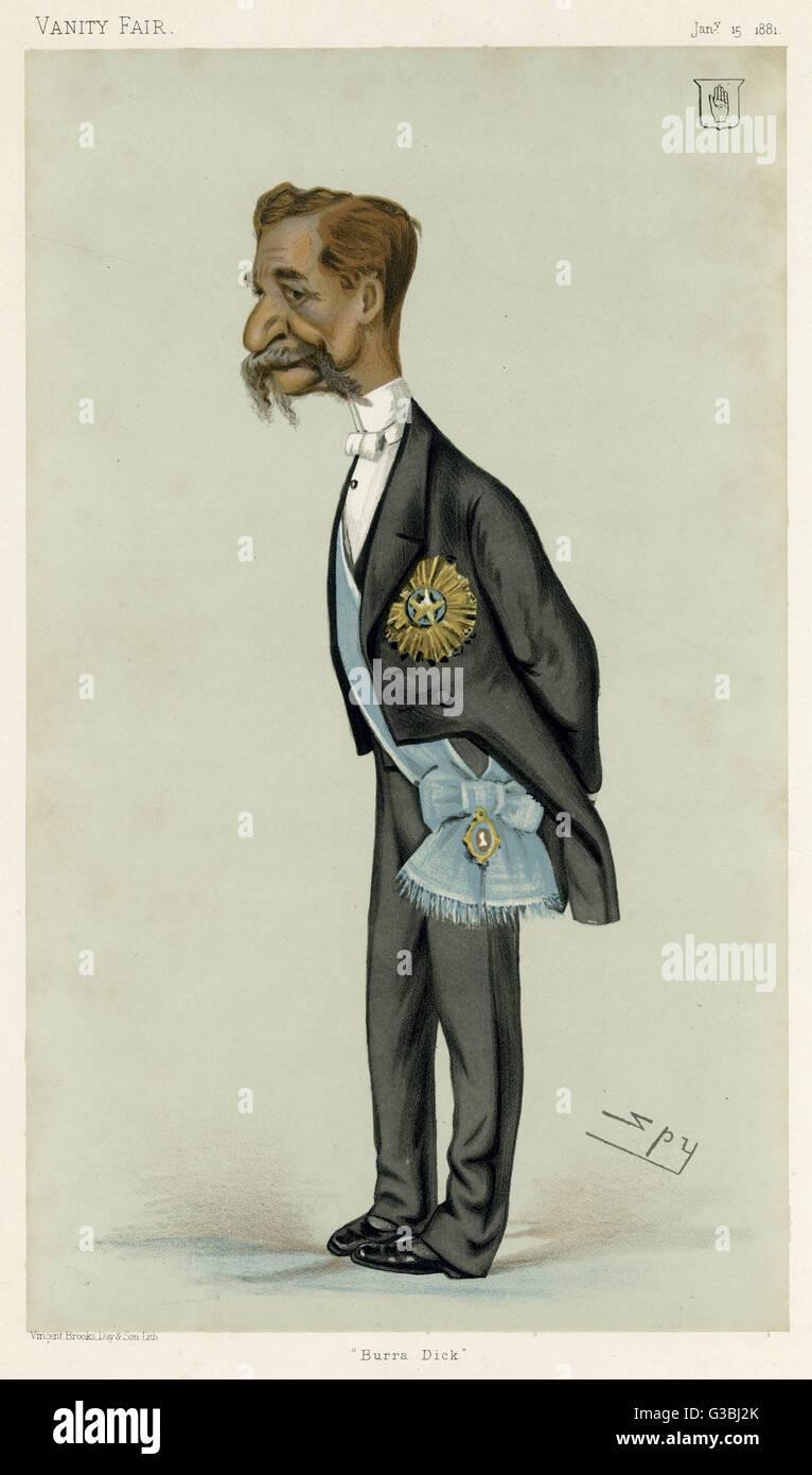 La estrella de la India es llamativamente sported por Sir Richard templo (1826- 1902) tomó nota de administrador en la India. Fecha: 1881 Foto de stock