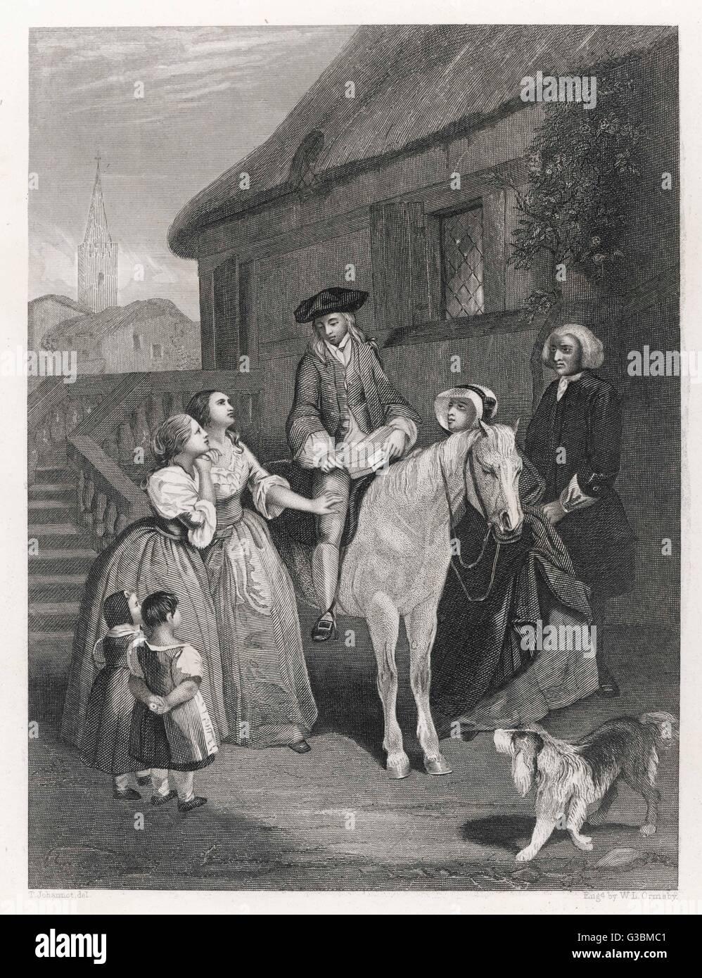 Moisés recibe instrucciones de último minuto de su familia antes de salir para la feria donde será notoriamente incorrecto. Fecha: publicado por primera vez en 1766 Foto de stock