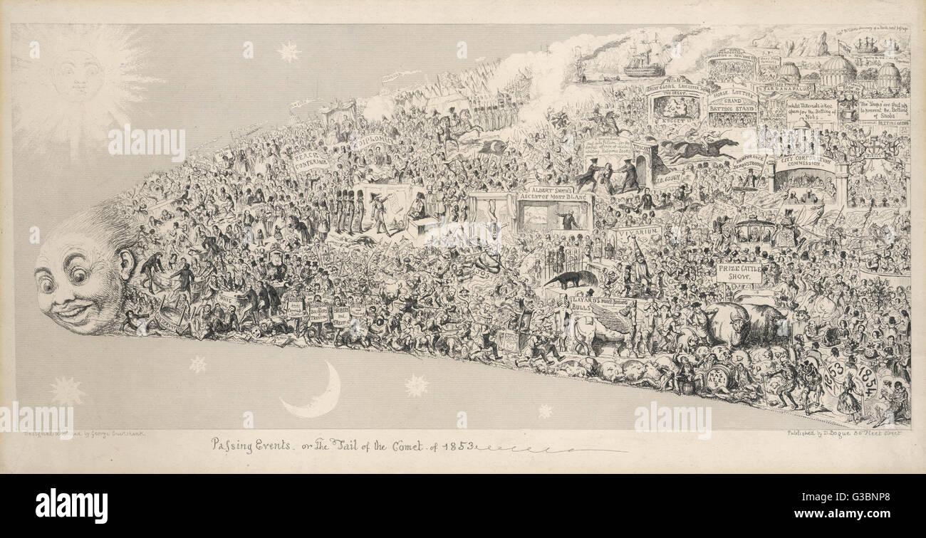 Pasar eventos o la cola del cometa de 1853. Un resumen de los años notables eventos incluyen la introducción Imagen De Stock