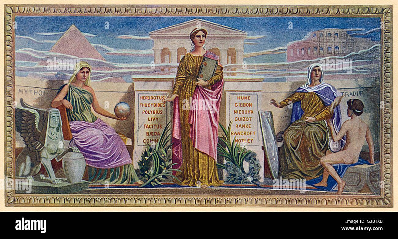 Washington DC, EE.UU. - El mosaico mural - 'Paneles' por Federico Dielman (1847-1935). Encontrado en la Imagen De Stock