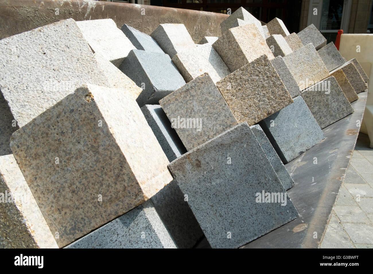 Constructores materiales en sitio como Preston mercado bandera sufre importantes de reparación y reacondicionamiento, Imagen De Stock
