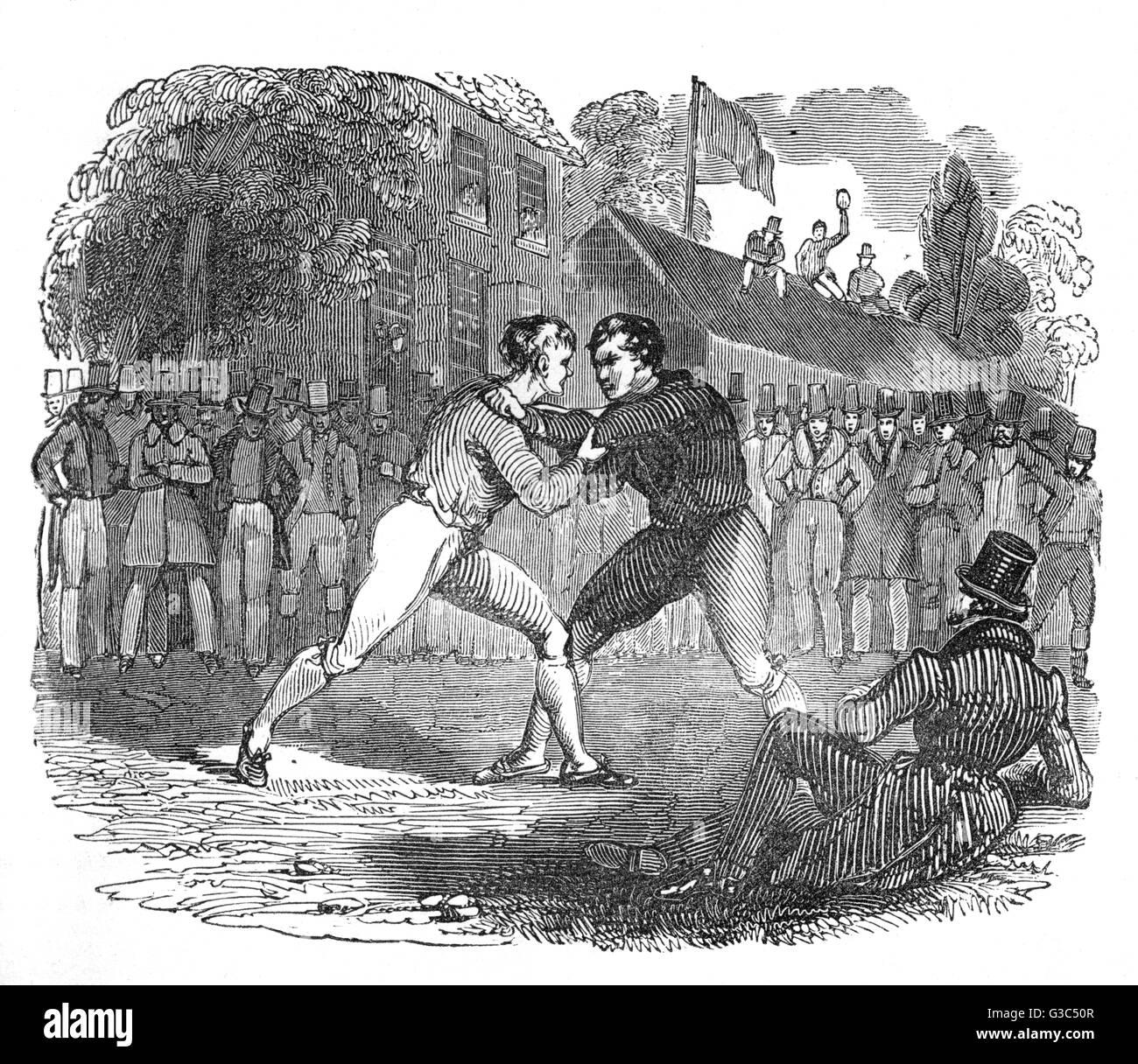Ilustración, dos hombres luchando en el aire abierto, observados por un círculo de espectadores. Fecha: Imagen De Stock