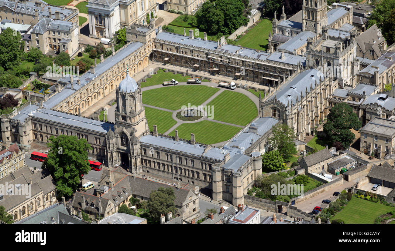 Vista aérea de la Universidad de Christ Church College, Oxford, Reino Unido Imagen De Stock