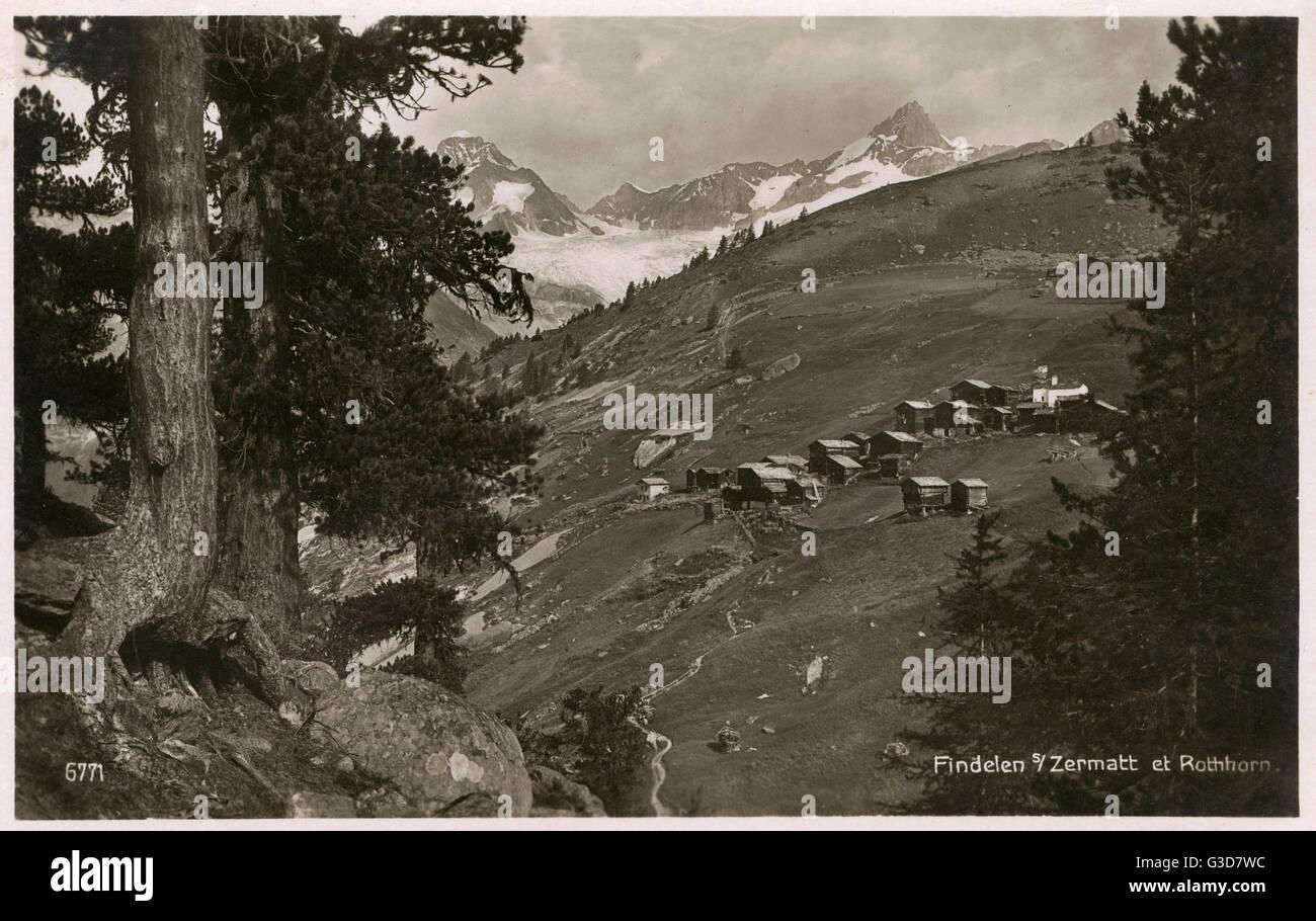 Findelen, una colina village cerca de Zermatt, Suiza y en vista de la Rothhorn. Fecha: circa 1910s Imagen De Stock