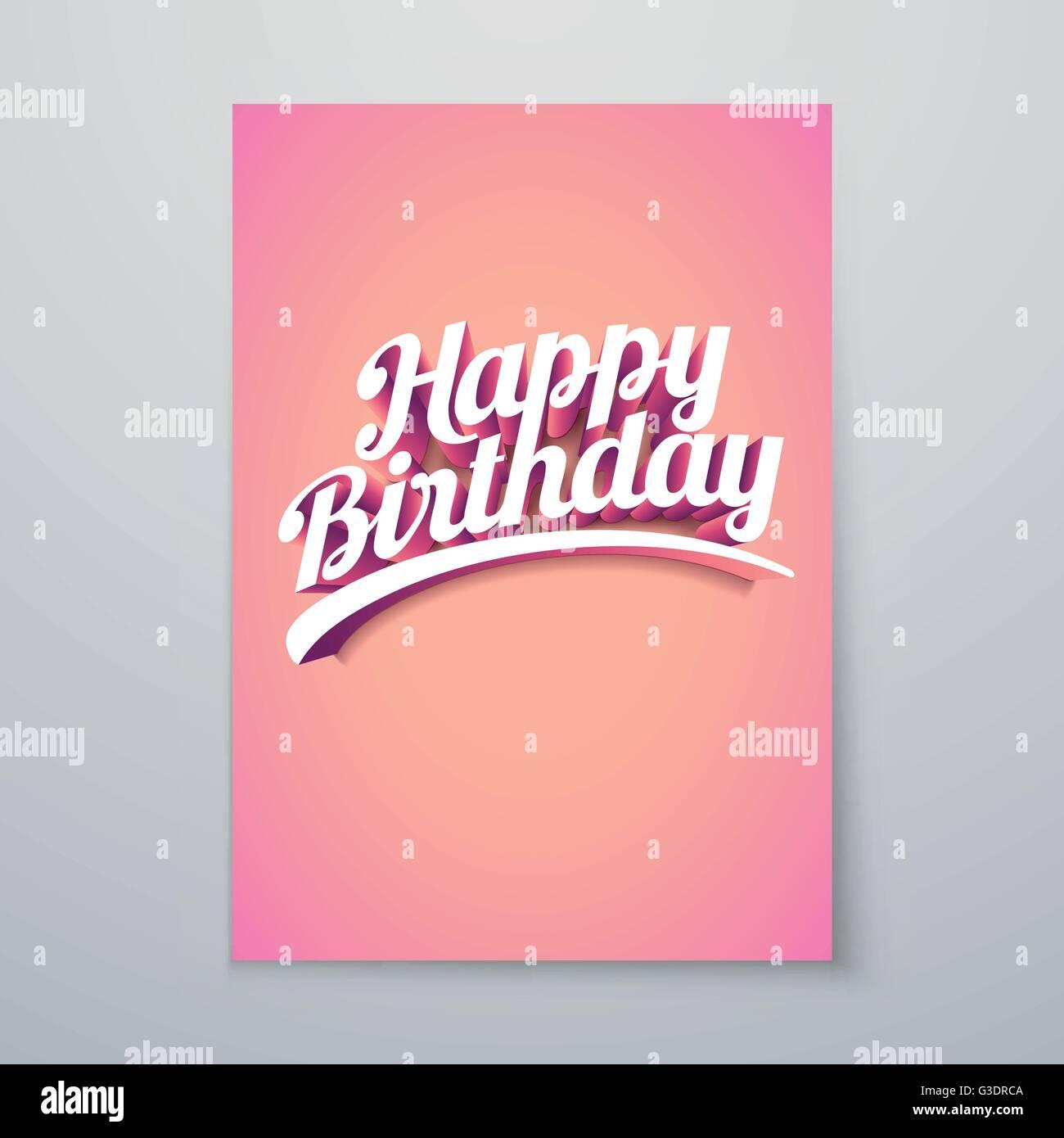 Feliz Cumpleaños Vector hand lettering 3D personalizadas diseño de póster tipográfico. Imagen De Stock