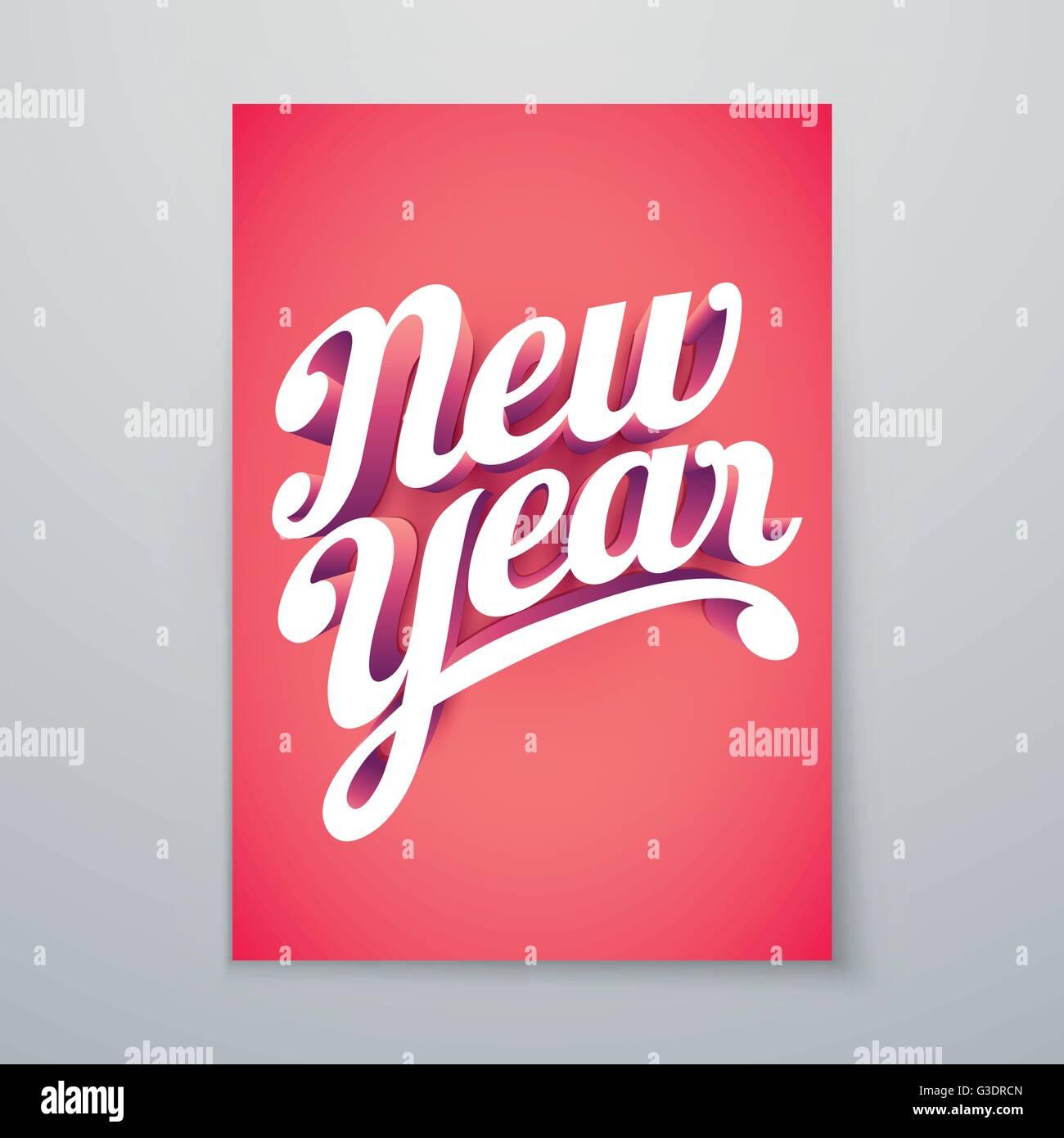 Año Nuevo Vector hand lettering 3D personalizadas diseño de póster tipográfico. Imagen De Stock