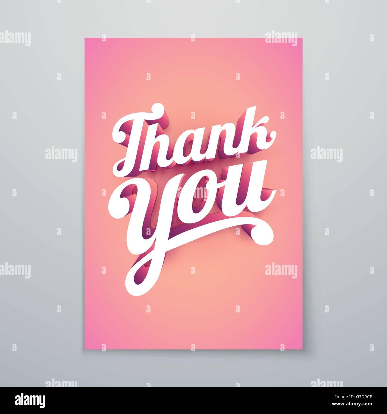 Gracias Vector hand lettering 3D personalizadas diseño de póster tipográfico. Imagen De Stock