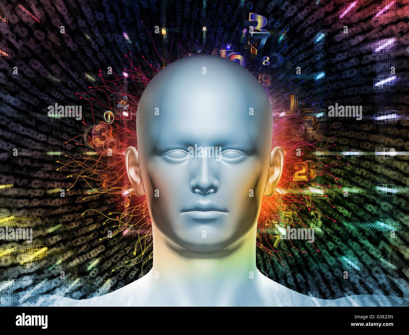 Hombre de número de serie. Disposición de cabeza humana, números y elementos visuales sobre el tema Imagen De Stock