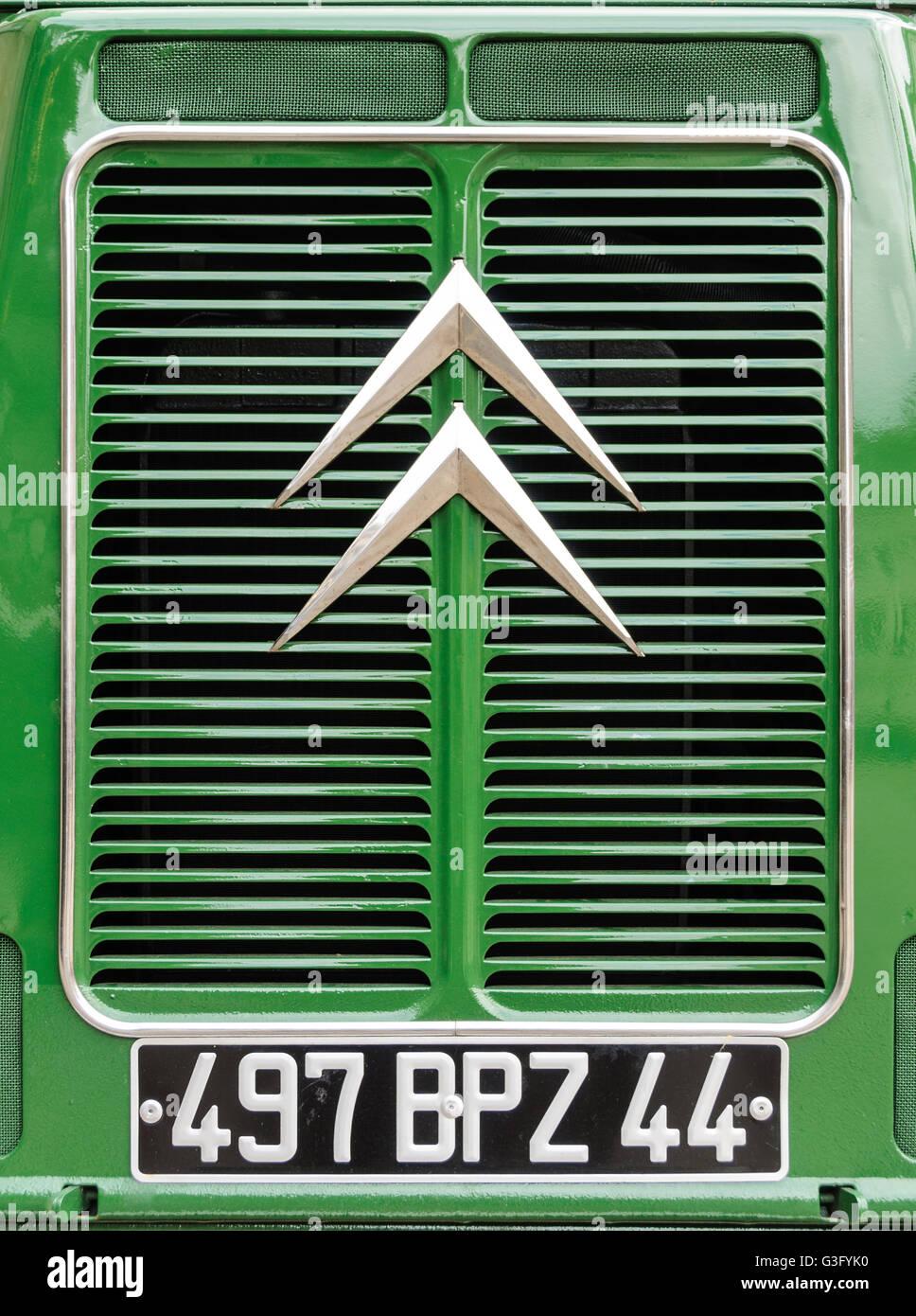 Green Citroën H Van calandra closeup Foto de stock