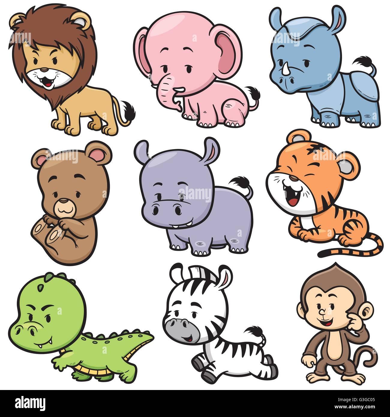 Ilustración vectorial de dibujos animados Animales Salvajes ...