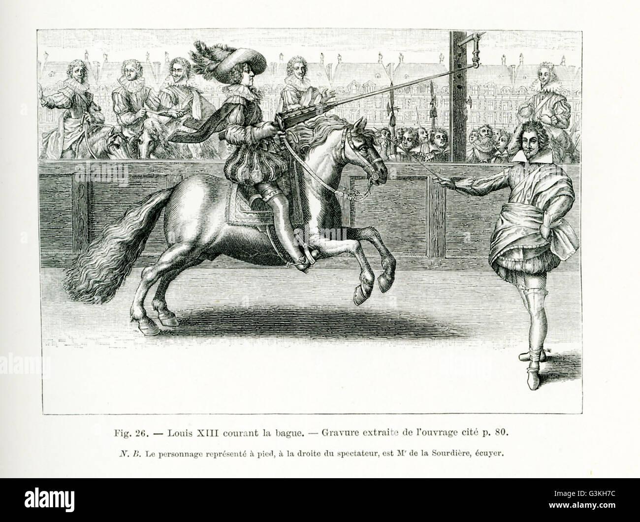 El título de este grabado se lee: Louis XIII entra en el ring. La persona de pie a la derecha es Squire M. de la Sourdiere. Fue un monarca de la Casa de Borbón. Él gobernó como rey de Francia desde 1610 hasta 1643. También se desempeñó como rey de Navarra desde 1610 hasta 1620 cuando la corona de Navarra fue parte del reino de Francia. Luis XIII fue el hijo de María de Médicis y Enrique IV de Francia. Foto de stock