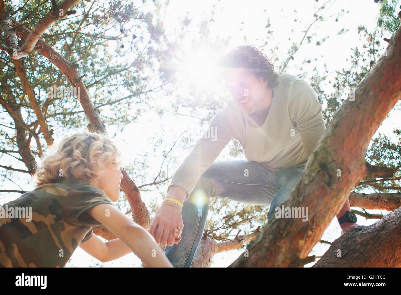 Padre e hijo árbol de escalada Imagen De Stock