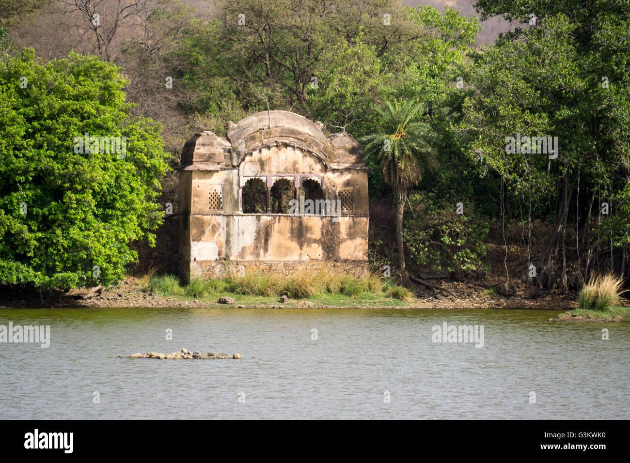 Un antiguo templo del tigre en la India Foto de stock