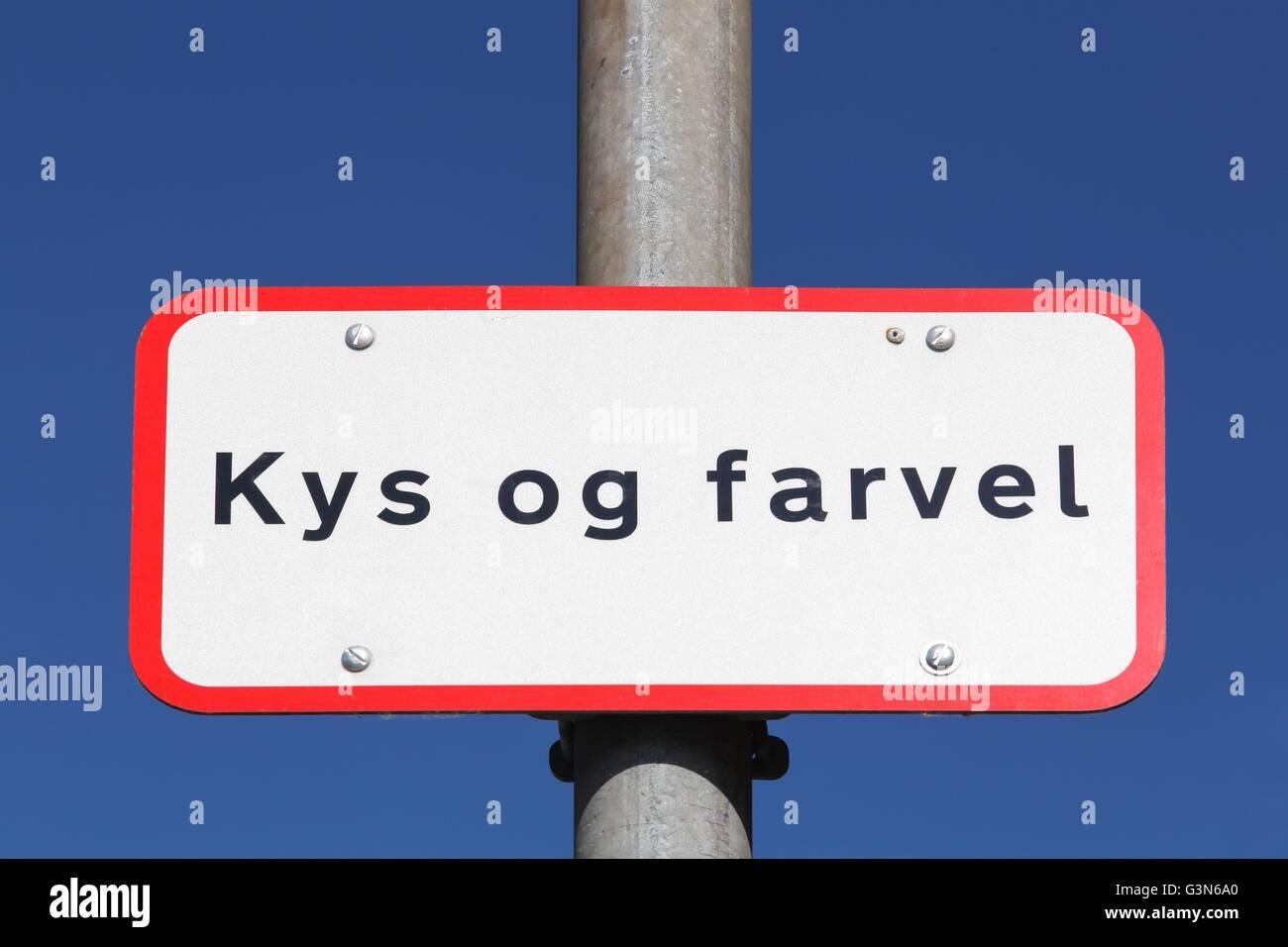 Beso y Adiós llamada Kys og Farvel en danés gota fuera de zona en Dinamarca Imagen De Stock