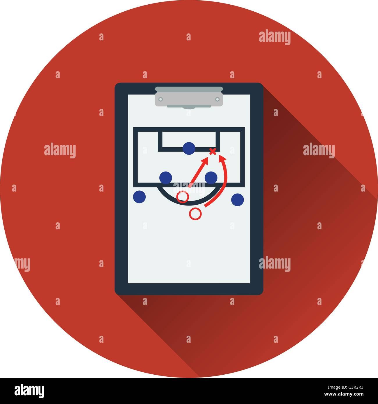 Icono de entrenador de fútbol tablet con plan de juego