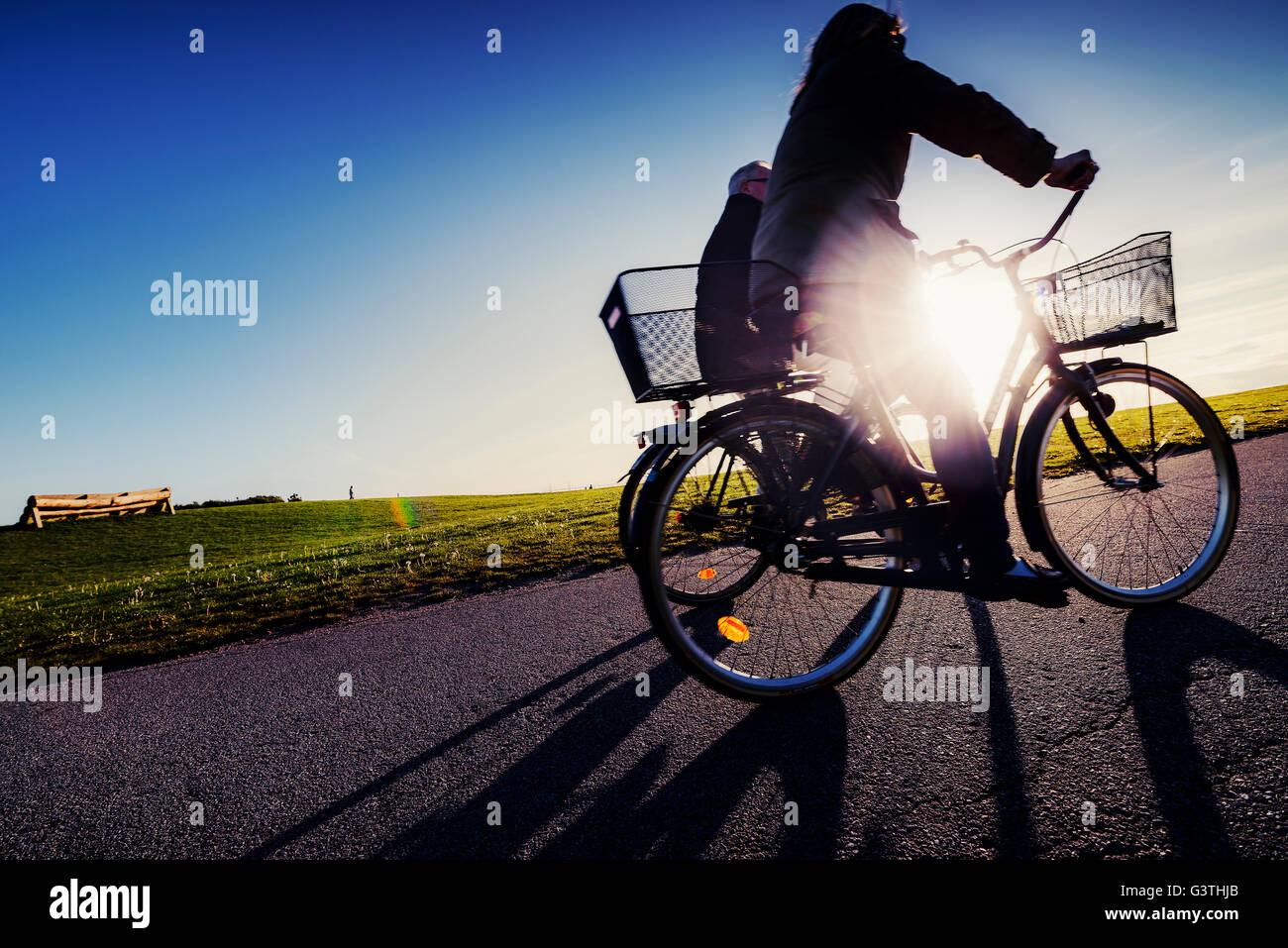 Suecia, Skane, Malmo, Ribersborg, vista lateral de los ciclistas en el parque Imagen De Stock