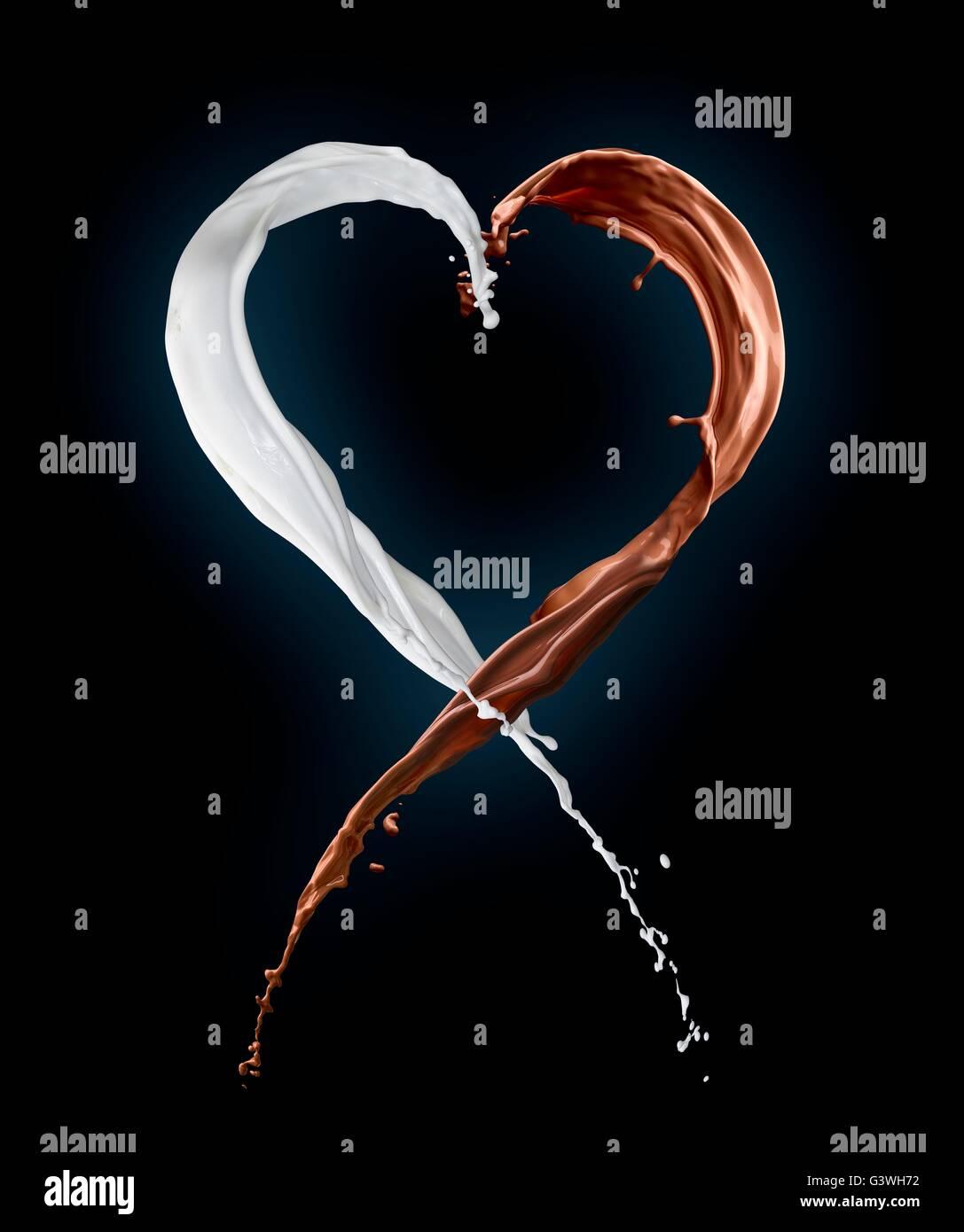 Corazón de salpicaduras de leche Imagen De Stock