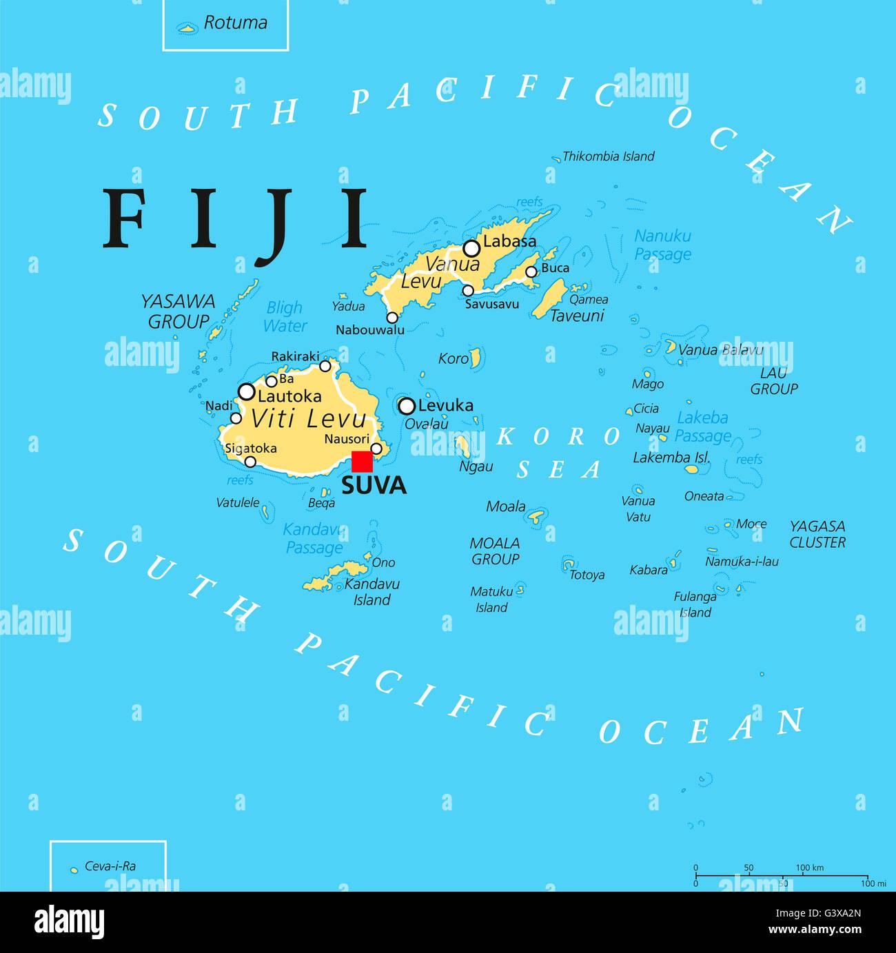 Fiji Mapa Politico Con La Capital Suva Islas Ciudades
