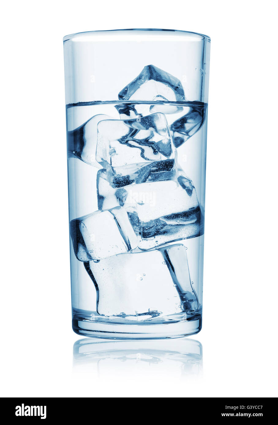 Vaso De Agua Con Hielo Aislado Sobre Fondo Blanco Foto Imagen De