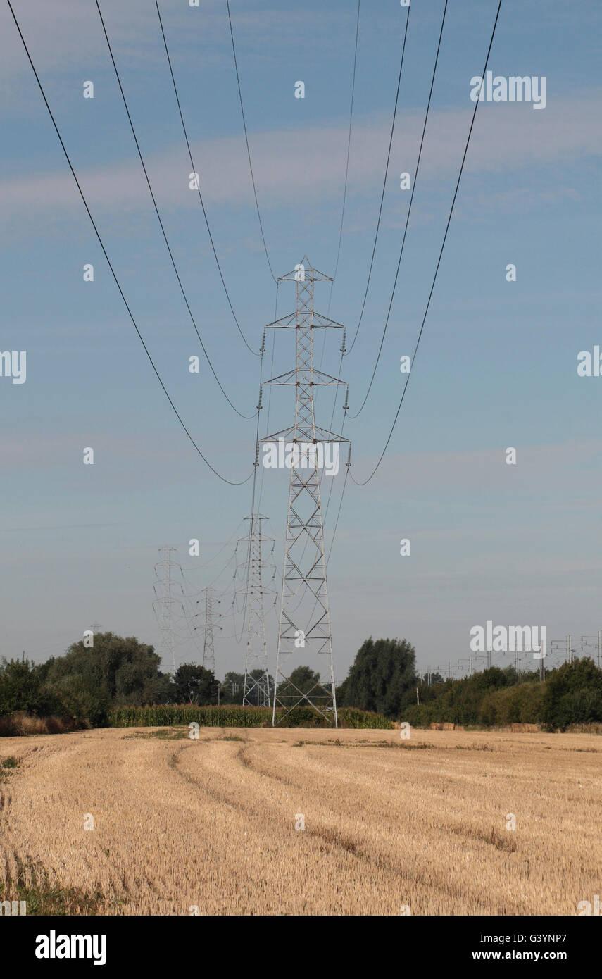 Los postes de la electricidad que pasa a través de un campo en el norte de Francia. Imagen De Stock