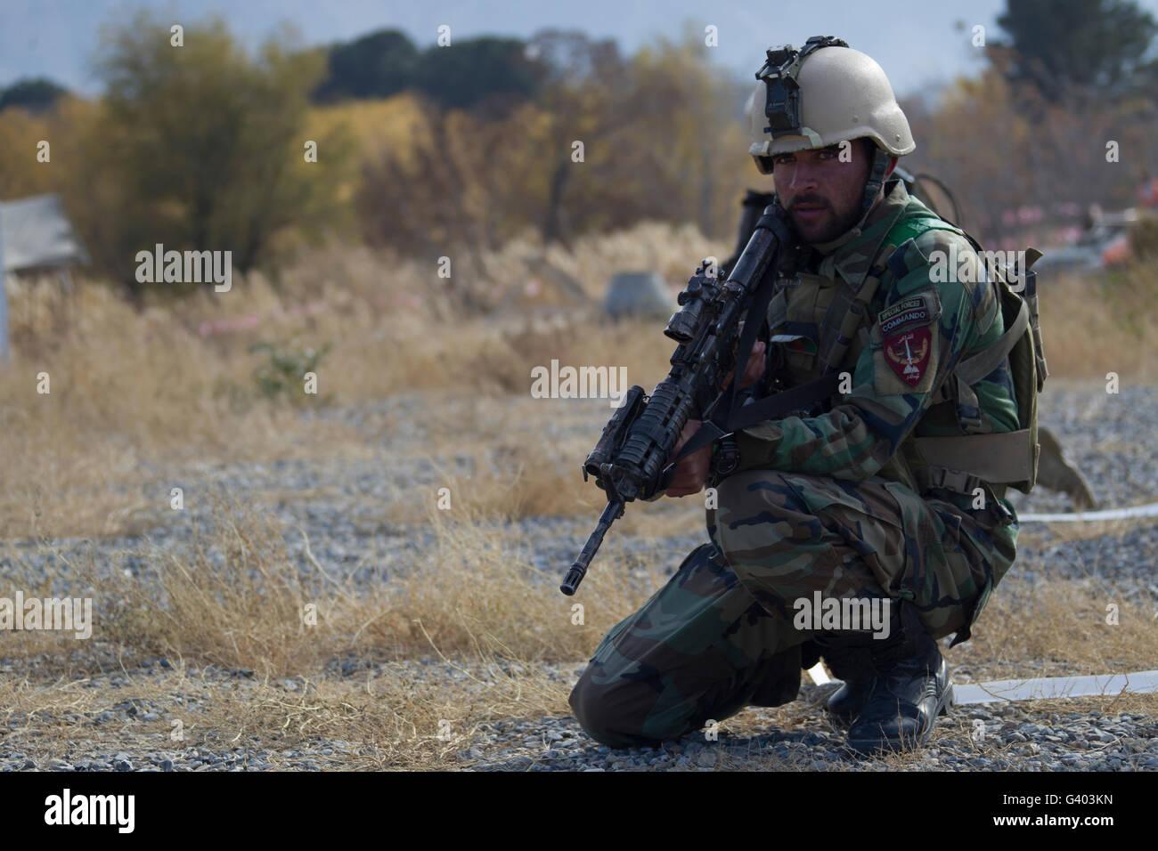 N de Fuerzas Especiales del Ejército Nacional Afgano miembro. Foto de stock