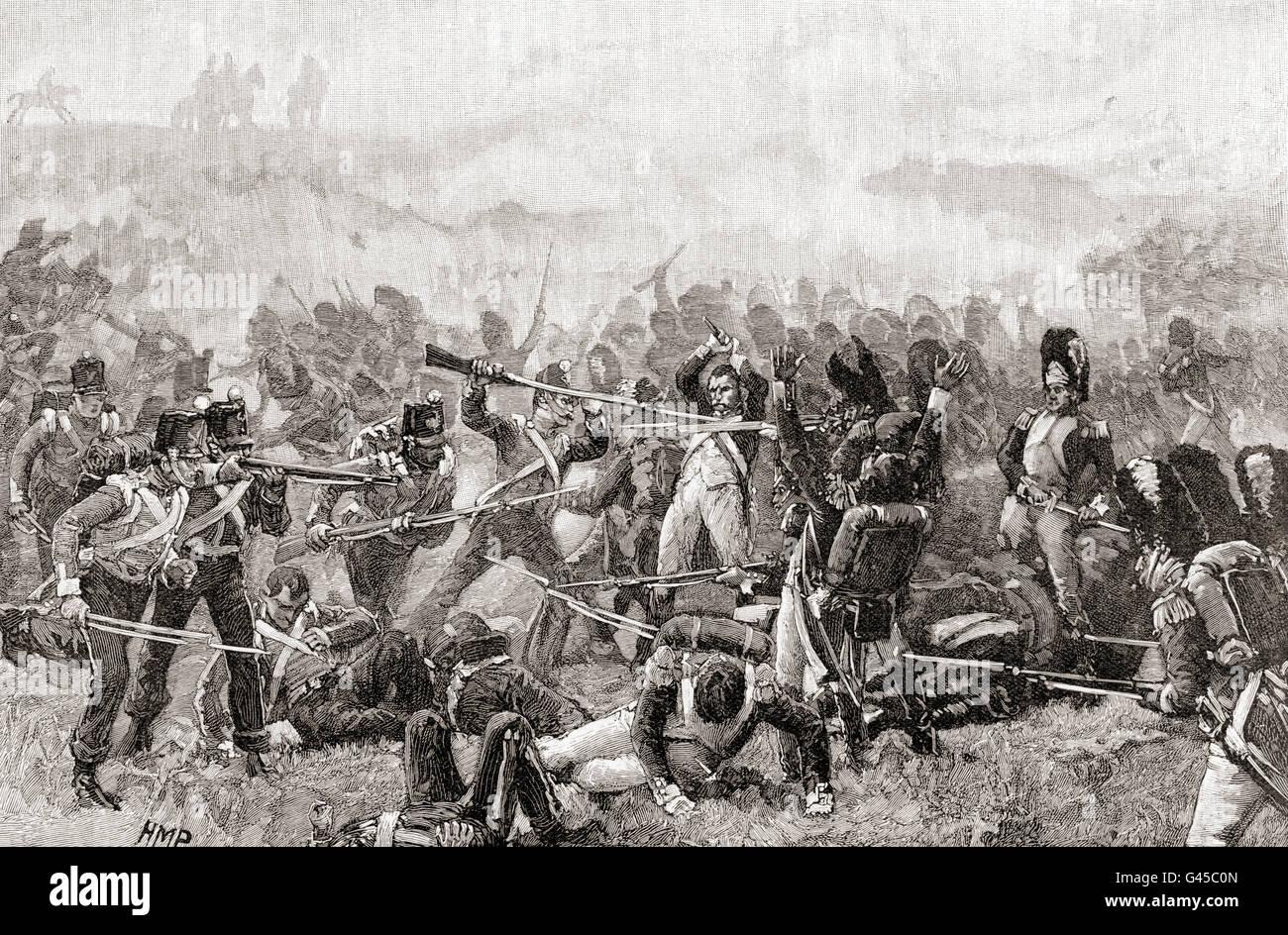 La batalla de Waterloo, Bélgica, 18 de junio de 1815. Los soldados franceses e ingleses luchar mano a mano. Imagen De Stock