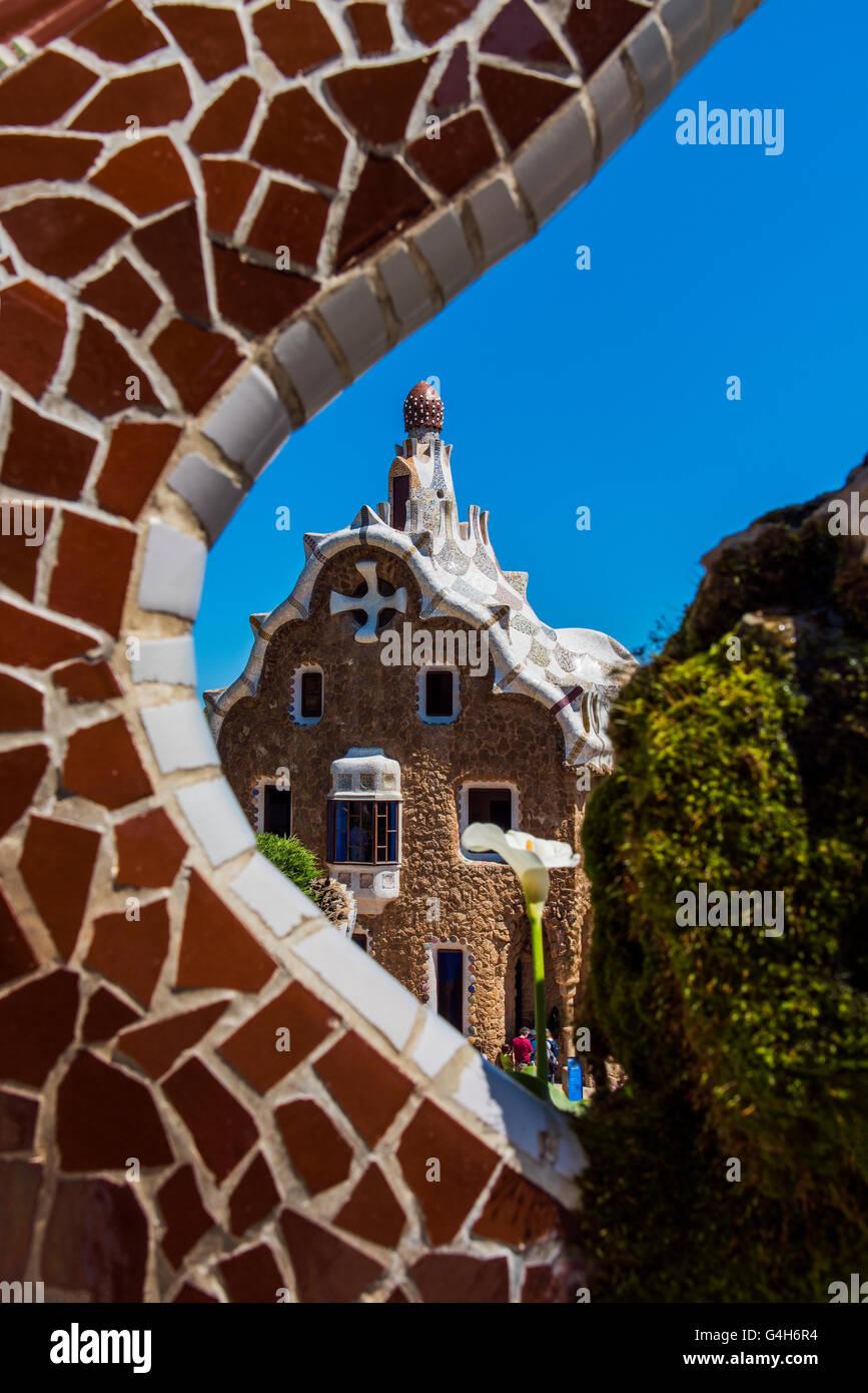 Parque Güell, Barcelona, Cataluña, España Imagen De Stock