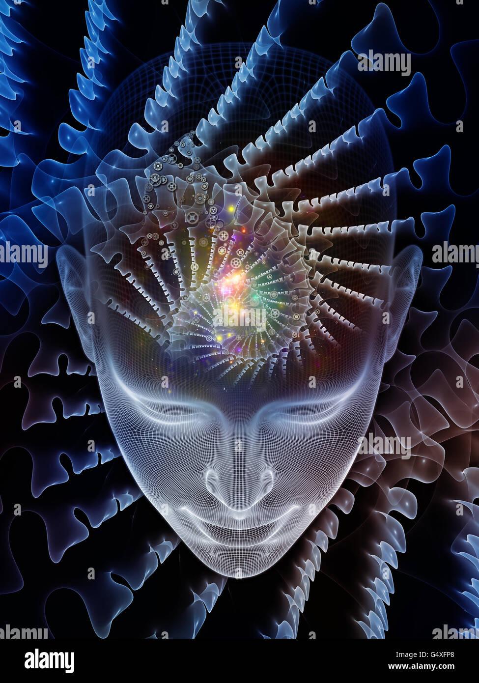 Visión en mente series. Composición de cabeza humana de renderizado y elemento conceptual sobre el tema Imagen De Stock