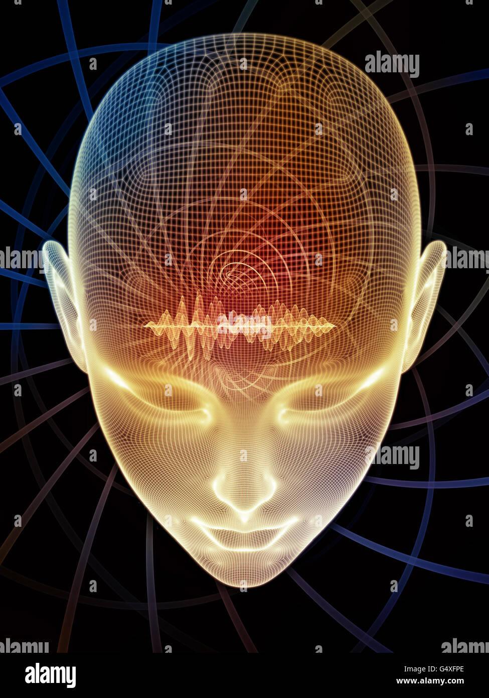 Visión en mente series. Composición de cabeza humana de renderizado y elemento conceptual adecuado como Imagen De Stock