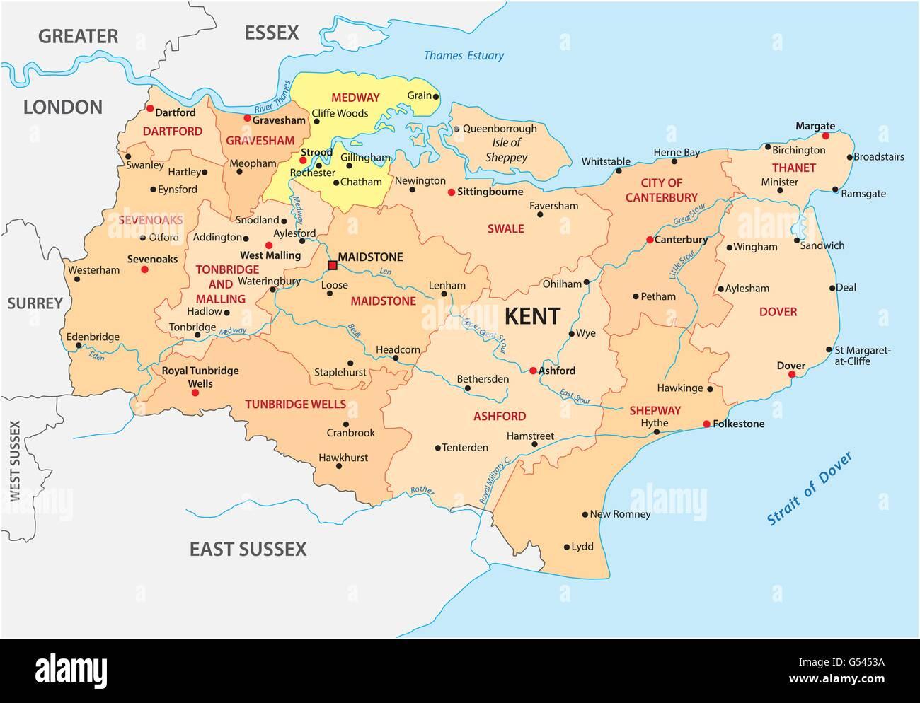Vectores mapa administrativo del condado de Kent, Inglaterra Ilustración del Vector