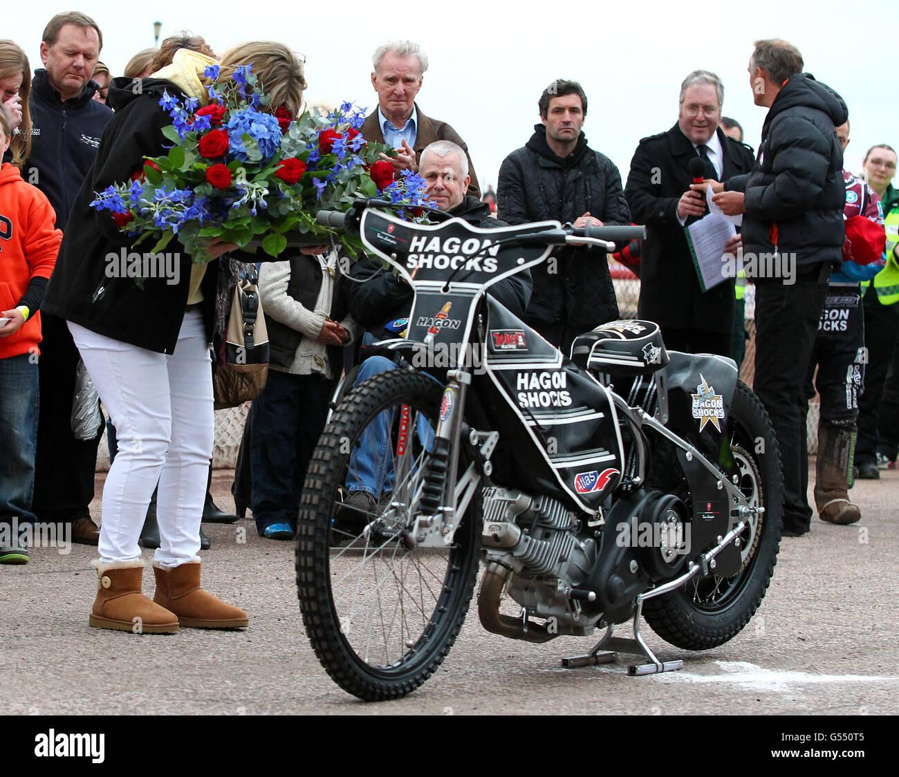Speedway - Lee Richardson homenaje - Arena Essex Raceway Imagen De Stock