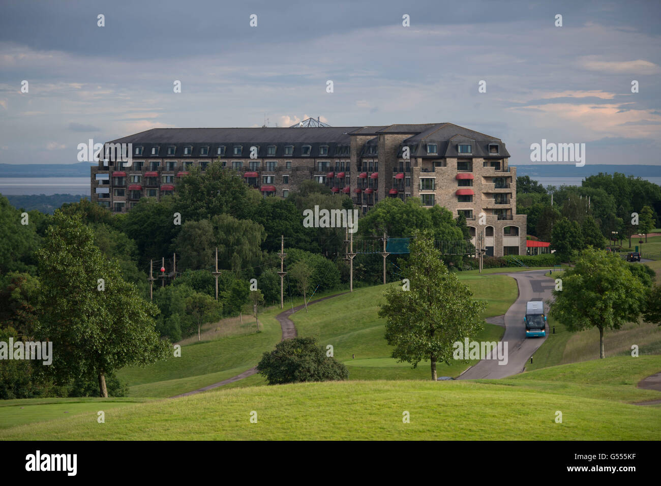 Una vista general del Celtic Manor hotel en Newport, Gales del Sur. Imagen De Stock