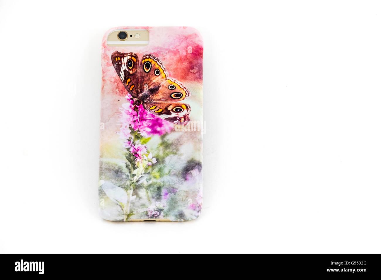 Una artística propietario teléfono personalizado diseñado para el iPhone 6s. Recorte. Imagen De Stock